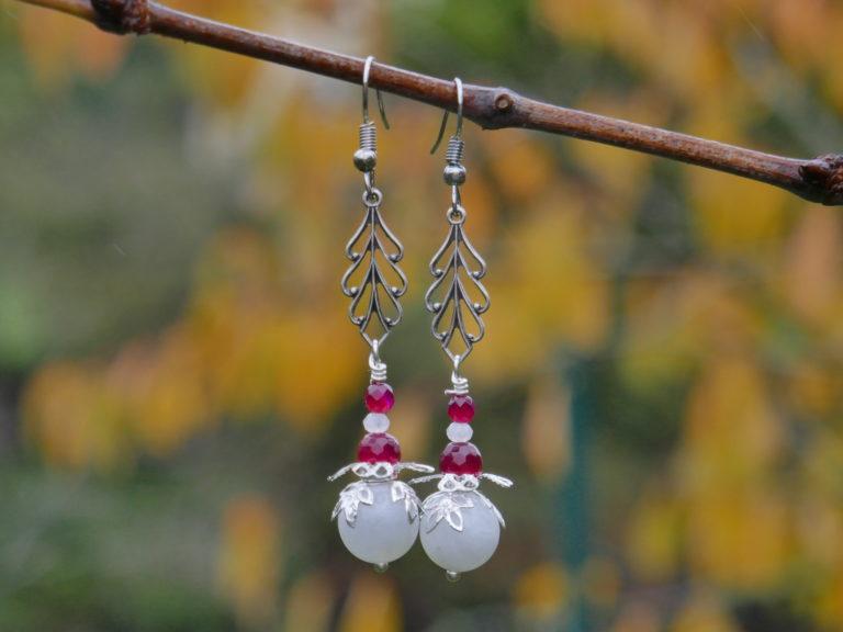 Boucles pierre de lune et agate.