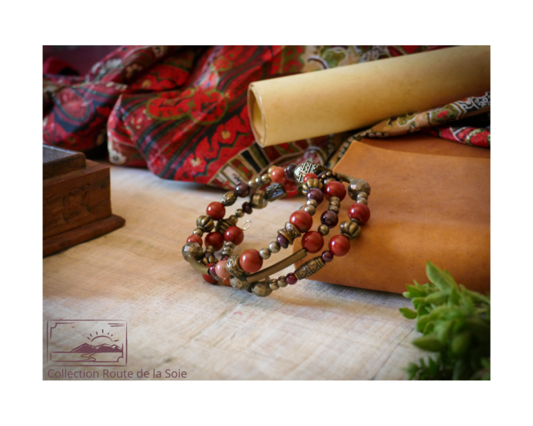 Bracelet jaspe rouge, grenat et pyrite. Collection Route de la Soie.