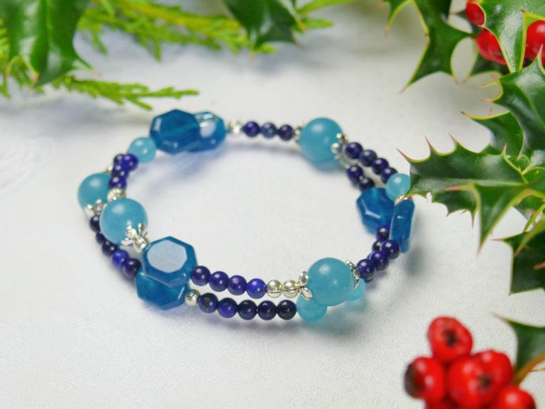 Bracelet de quartz, aragonite et lapis-lapuli