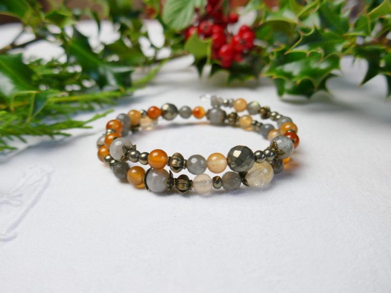 bracelet de citrine, agate, labradorite et pyrite.