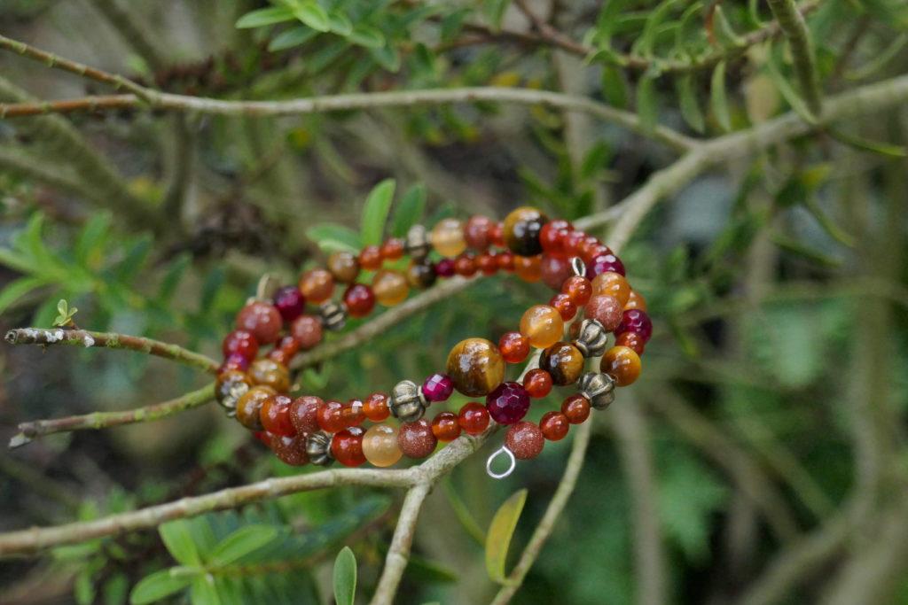 Bracelet d'automne en cornaline, oeil de tigre et agate.