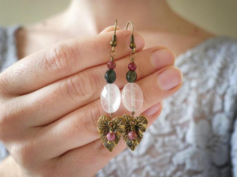 Boucles de quartz rose et tourmaline.
