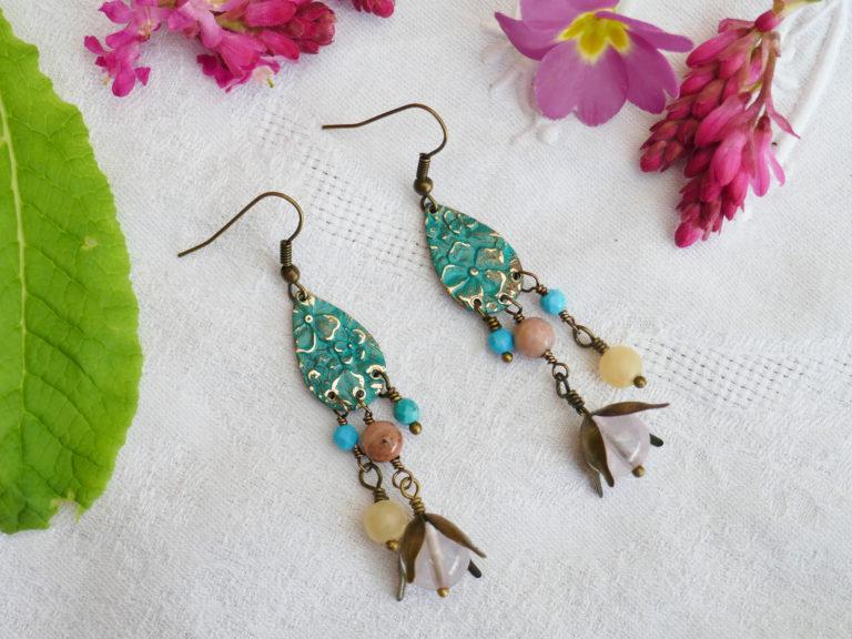 Boucles quartz rose, turquoise