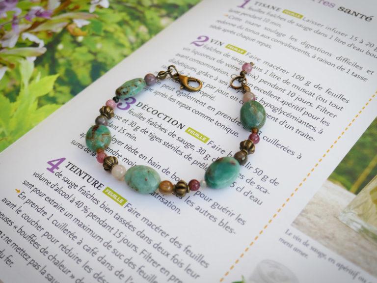 Bracelet jaspe vert et tourmaline