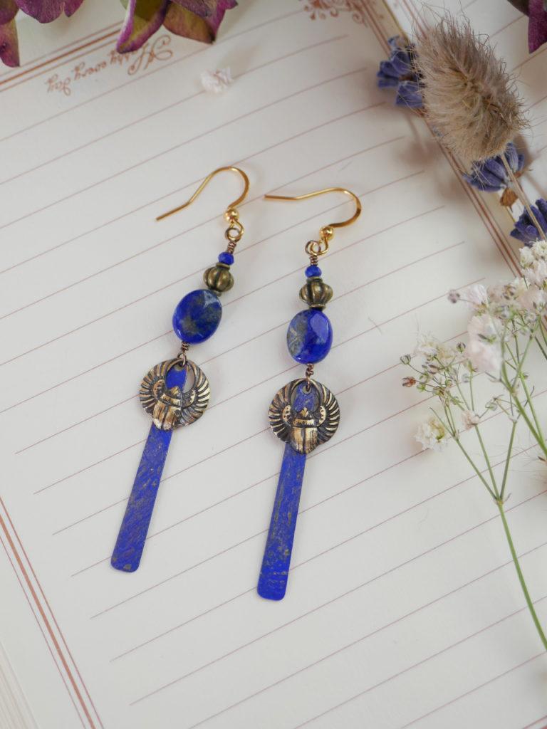 Boucles Louxor en lapis-lazuli